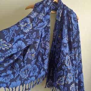 Hand-Painted Fringed Wrap, Blue, Black, Gold